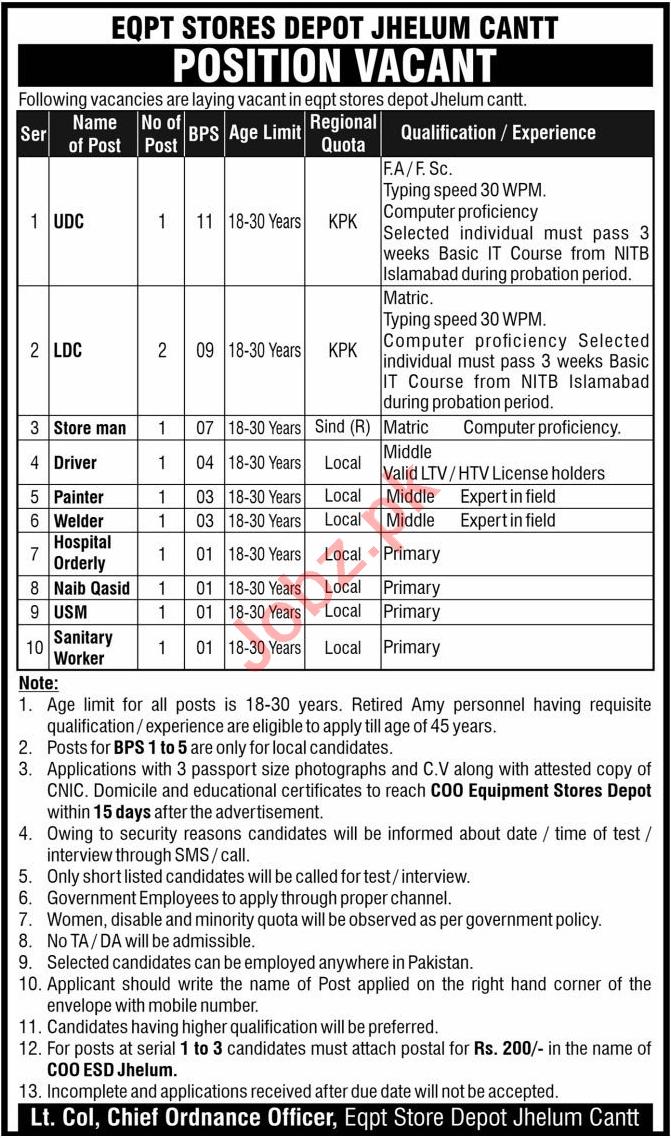 Pakistan Army Equipment Stores Depot Jhelum Cantt Jobs 2020