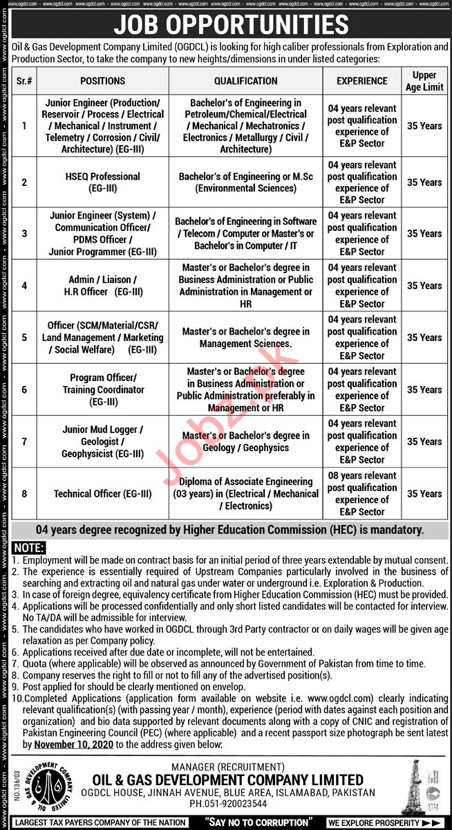 Junior Engineer Jobs in Oil & Gas Development Company OGDCL