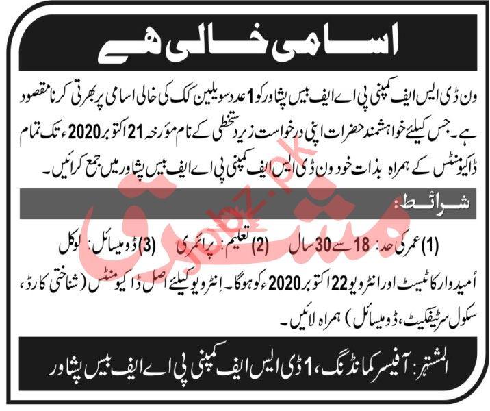 One DSF Company PAF Base Peshawar Jobs 2020