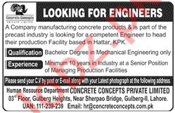 Mechanical Engineer Jobs 2020 in Concrete Concept Haripur