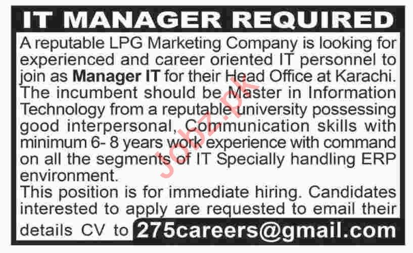 Manager IT & Manager Jobs 2020 in Karachi
