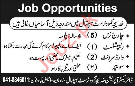 Charge Nurse & Receptionist Jobs in Khadija Mahmood Hospital