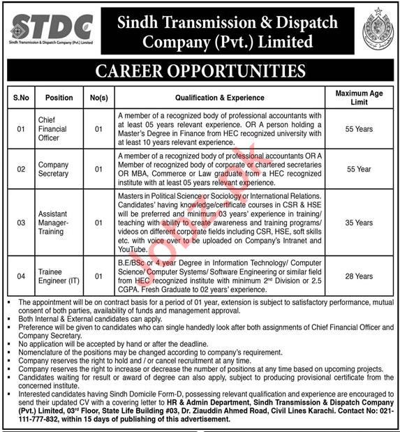Sindh Transmission & Dispatch Company STDC Jobs 2020
