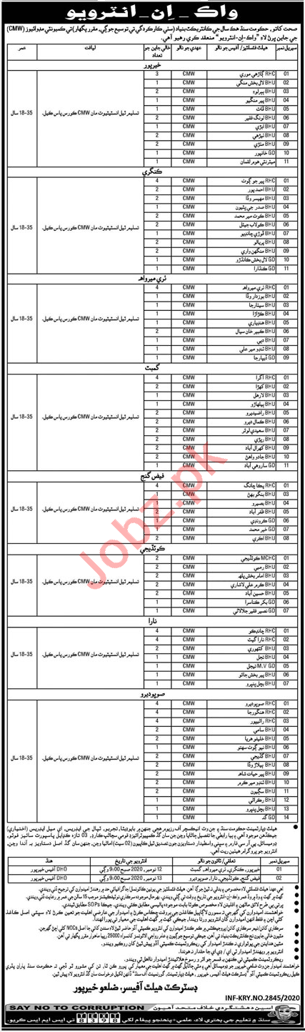 District Health Officer DHO Khairpur Jobs Interview 2020 CMW