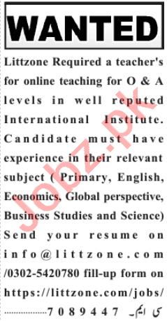 LittZone Educational Institution Lahore Jobs 2020