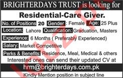 Residential Care Giver Jobs in Brighter Day Trust Lahore