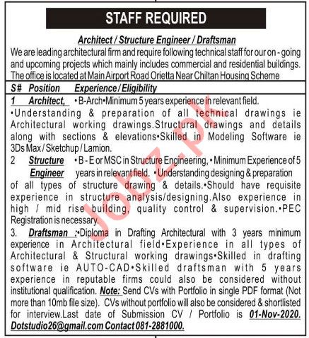 Architect & Structure Engineer Jobs 2020 in Quetta
