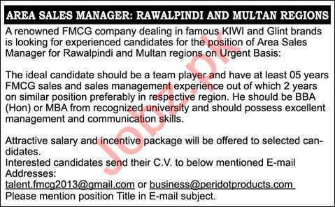 Area Sales Manager & Sales Manager Jobs 2020 in Rawalpindi