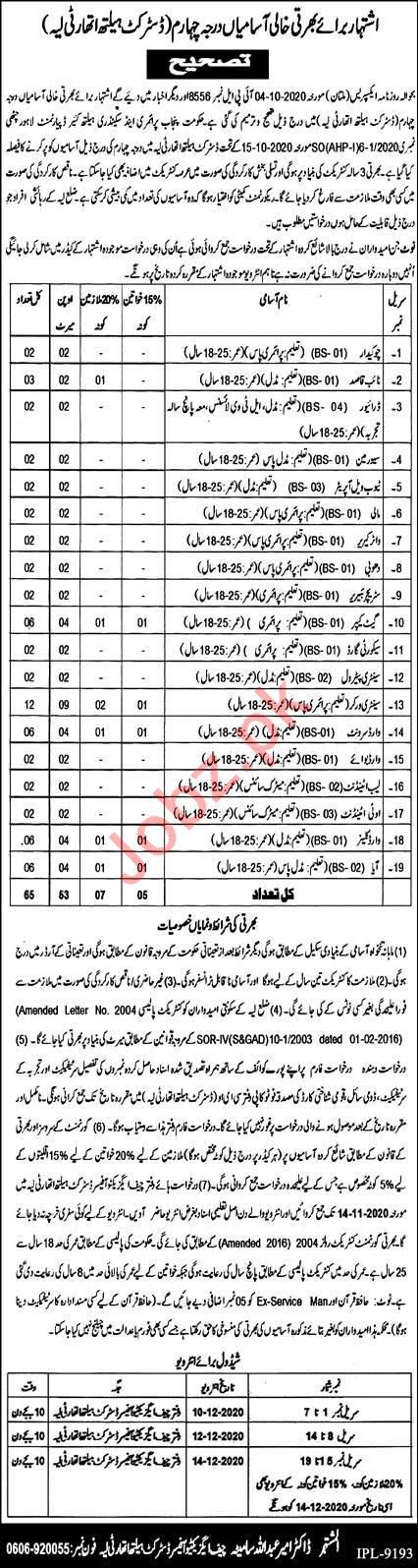 District Health Authority DHA Layyah Jobs 2020 for Drivers