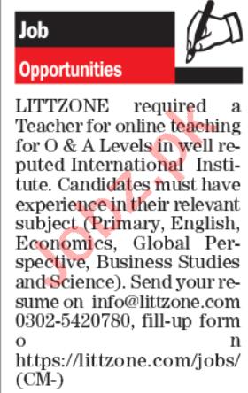 LittZone Institute Lahore Jobs 2020 for Teachers