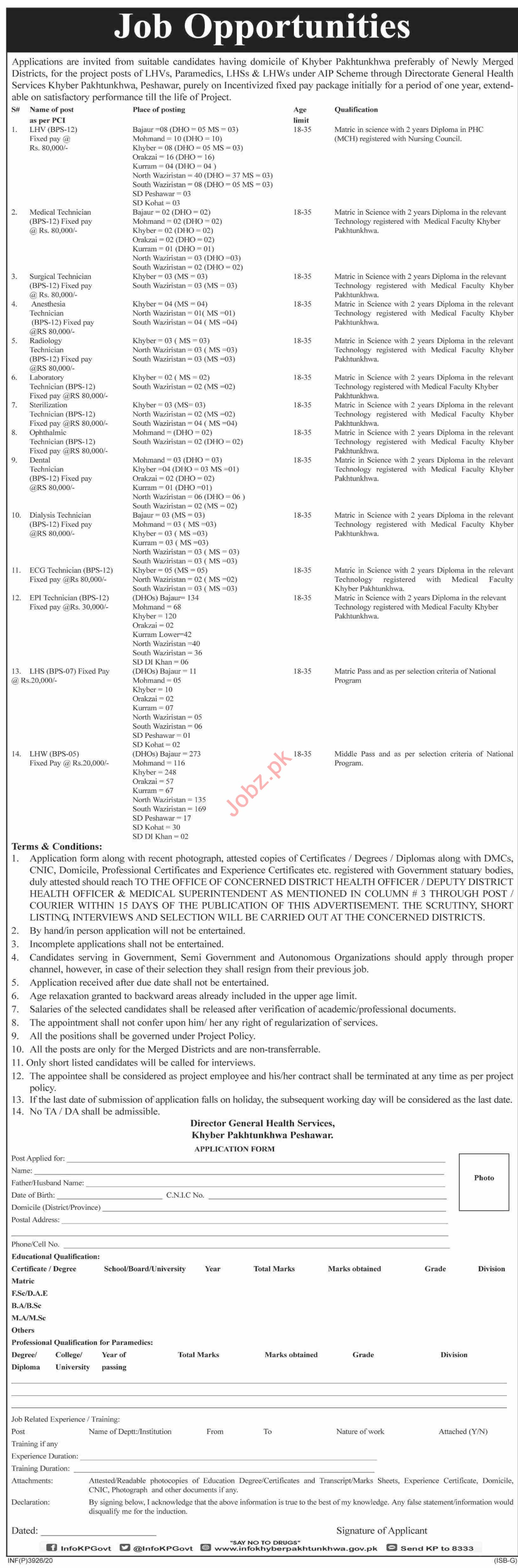 Directorate General Health Services DGHSKP Jobs 2020
