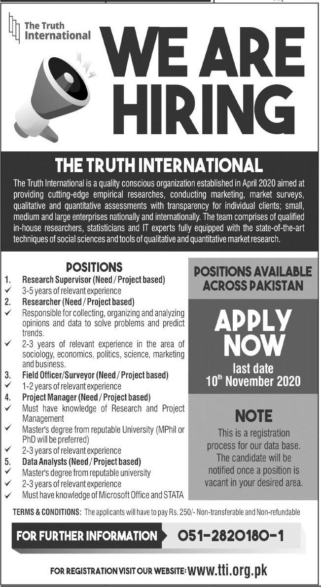 The Truth International Jobs 2020 in Islamabad