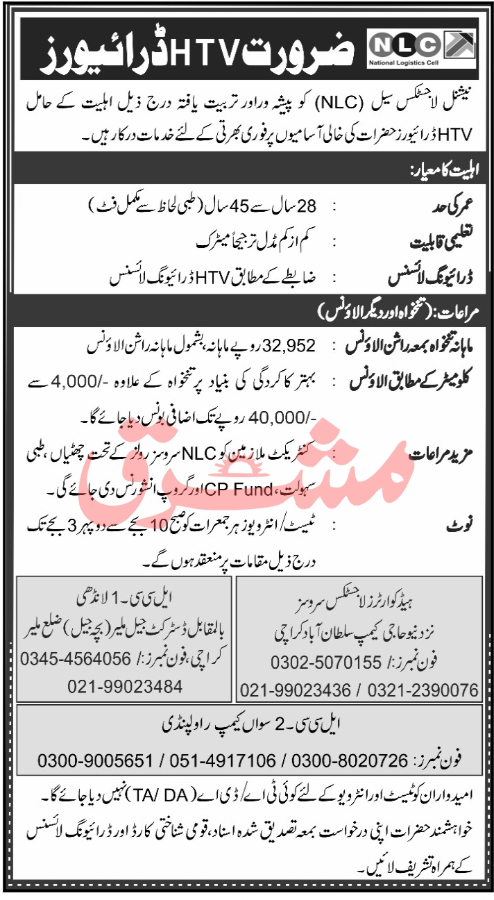 National Logistics Cell NLC Jobs 2020 For HTV Drivers