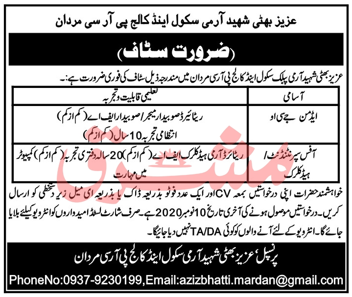Aziz Bhatti Shaheed Army School & College Jobs 2020