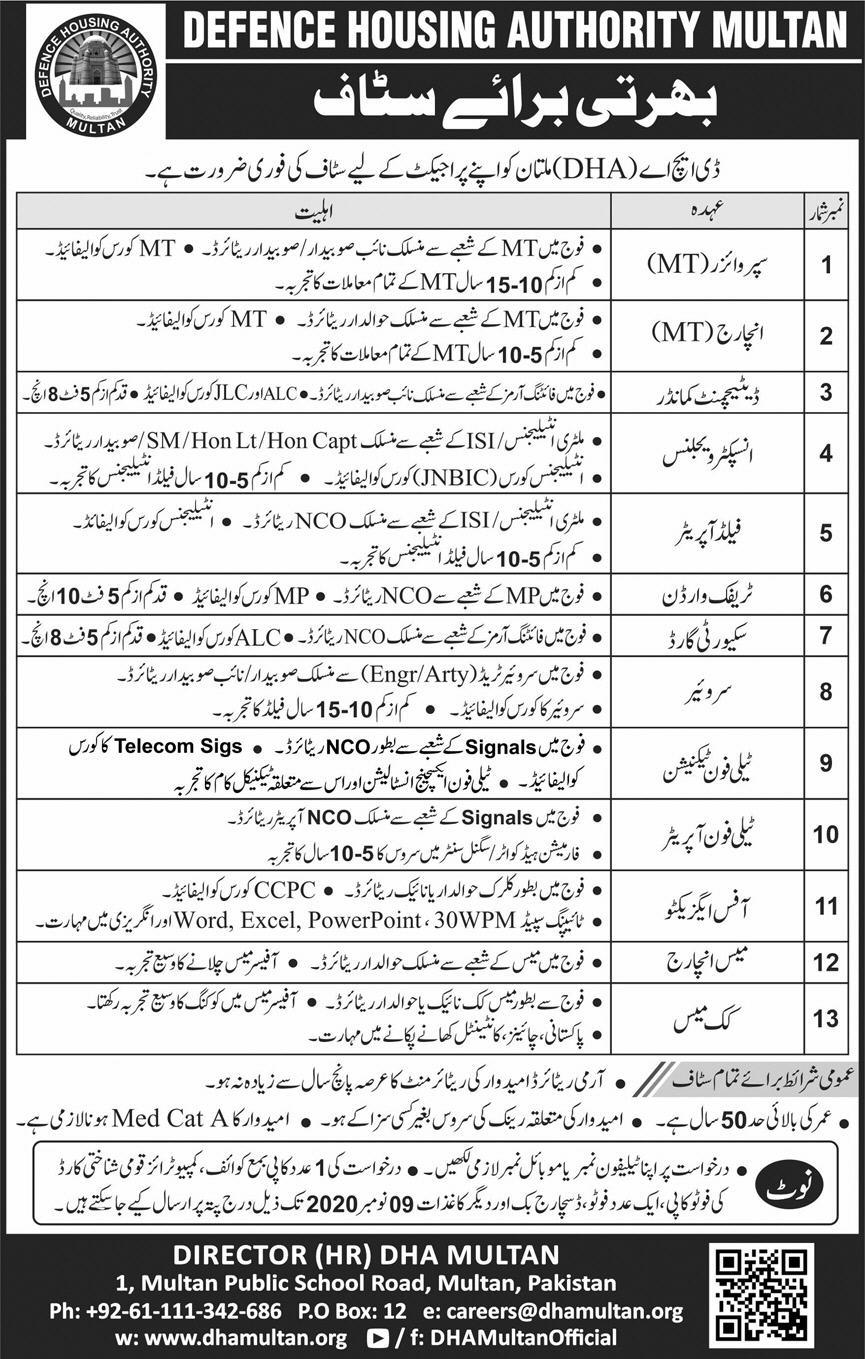 Defence Housing Authority DHA Multan Jobs 2020