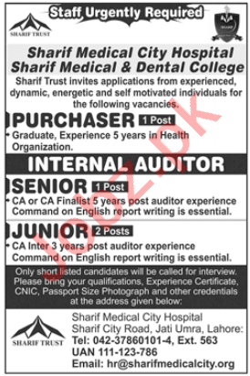 Sharif Medical City Hospital Lahore Jobs 2020 for Auditor