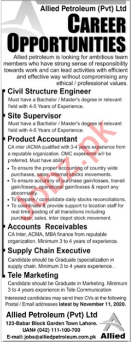 Allied Petroleum Lahore Jobs 2020 for Site Supervisor