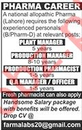 Plant Manager & QA Manager Jobs 2020 in Lahore