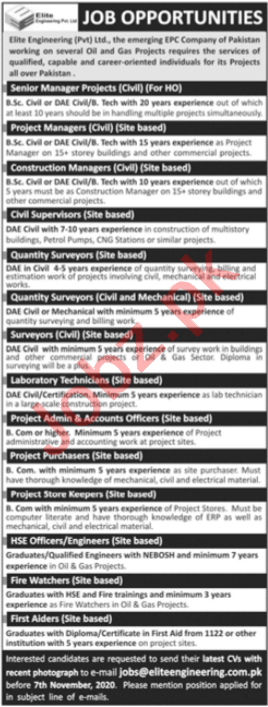 Elite Engineering Jobs 2020 for Managers & Surveyors