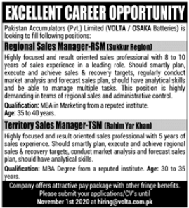 Regional Sales Manager & Territory Sales Manager Jobs 2020