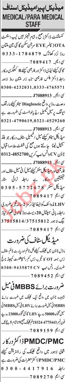 Jang Sunday Classified Ads 25 Oct 2020 for Medical Staff