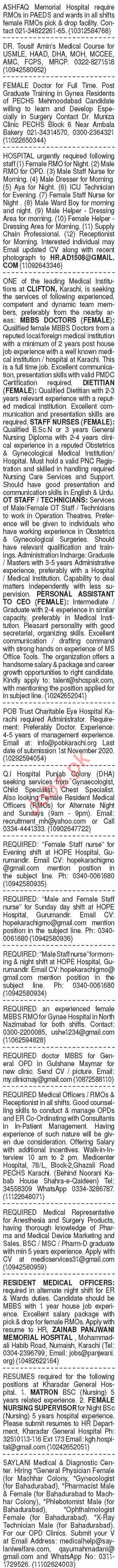 Dawn Sunday Classified Ads 25 Oct 2020 for Medical Staff