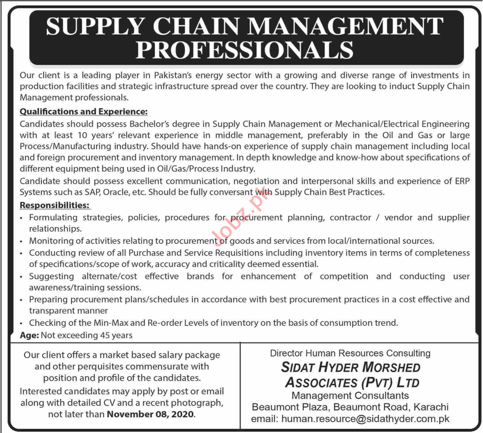 Supply Chain Management Professional Jobs 2020 in Karachi