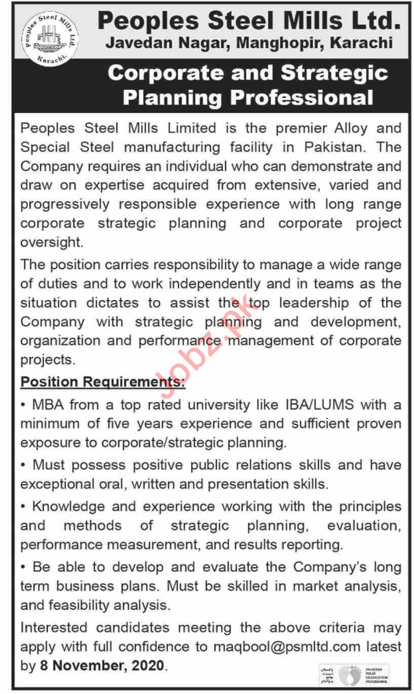 Peoples Steel Mills Karachi Jobs 2020 for Corporate Office