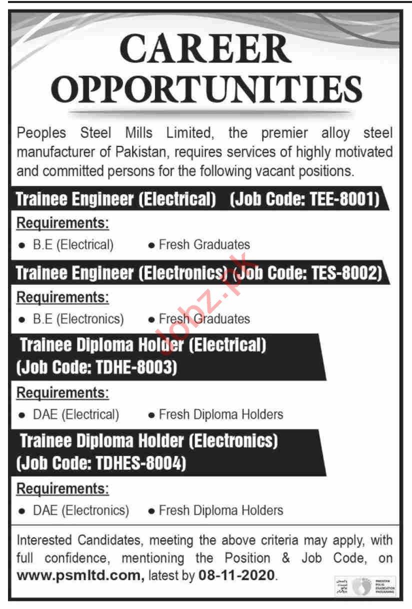 Peoples Steel Mills Jobs 2020 Trainee Engineer & Technician