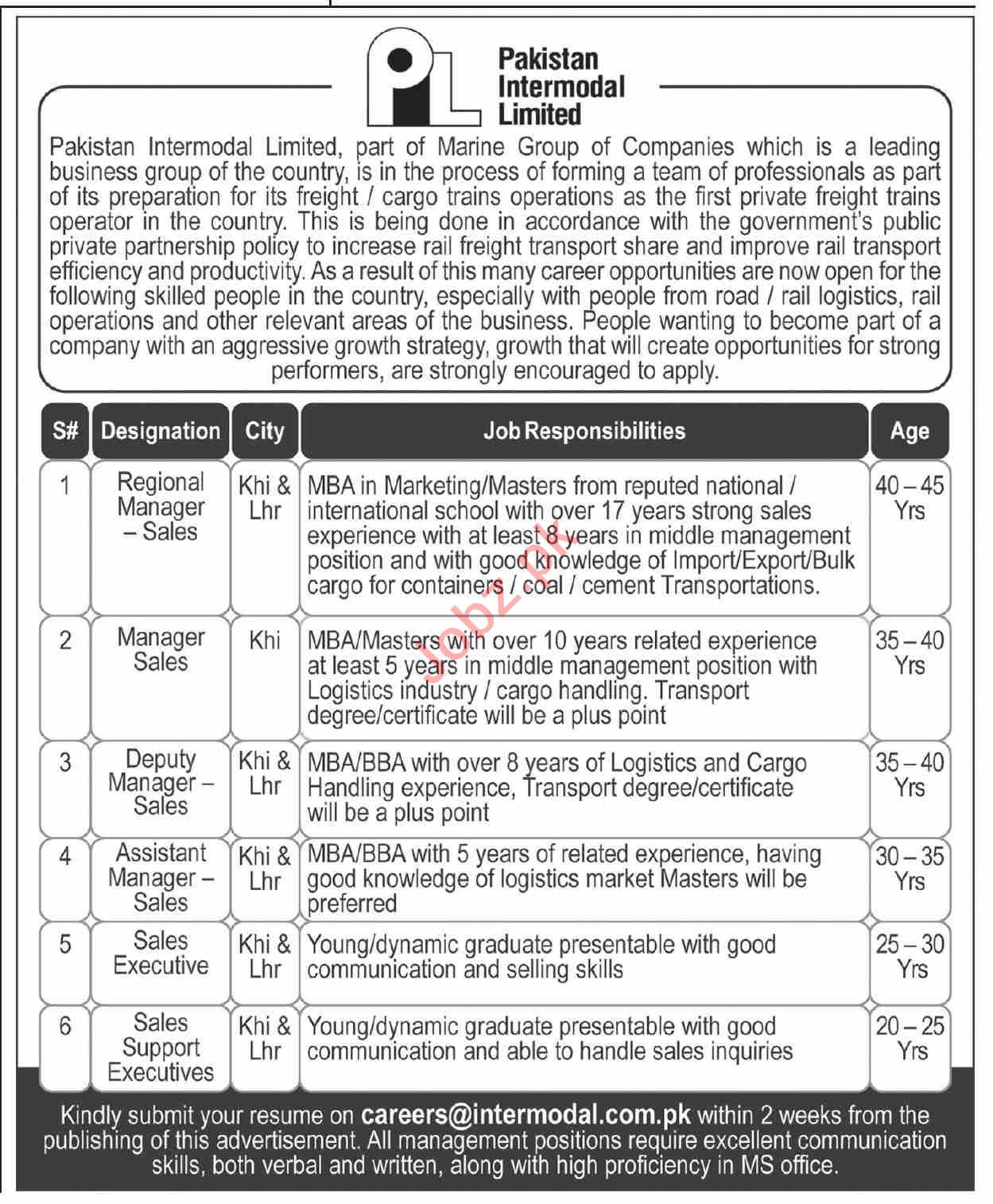 Pakistan Intermodal Limited Jobs 2020 Regional Manager Sales