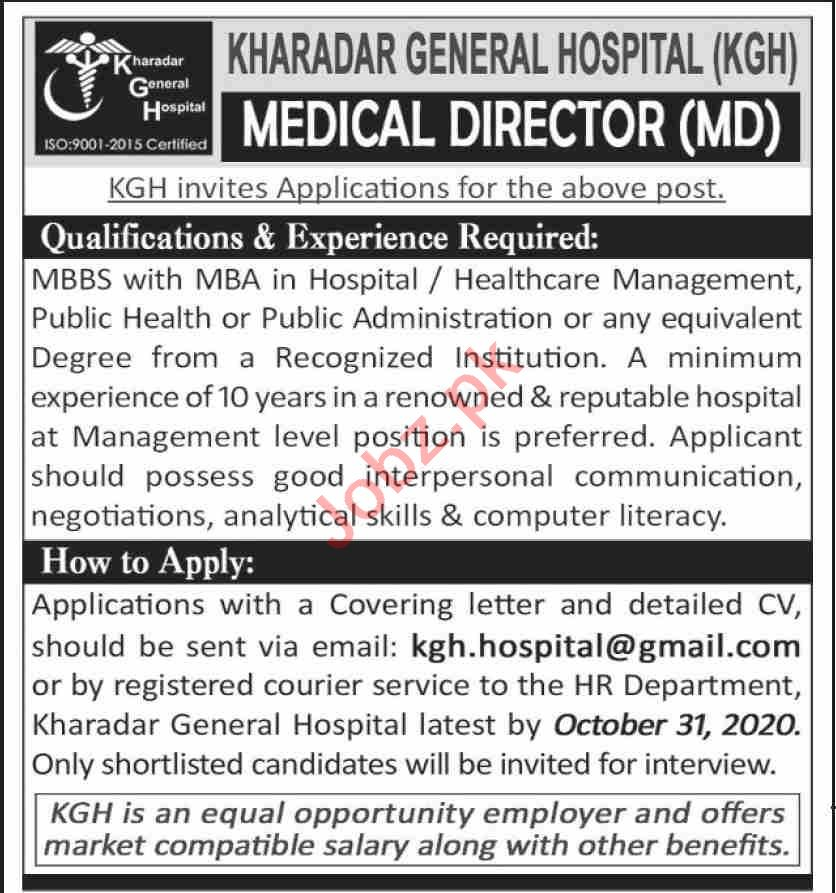 Kharadar General Hospital KGH Karachi Jobs 2020 for Director