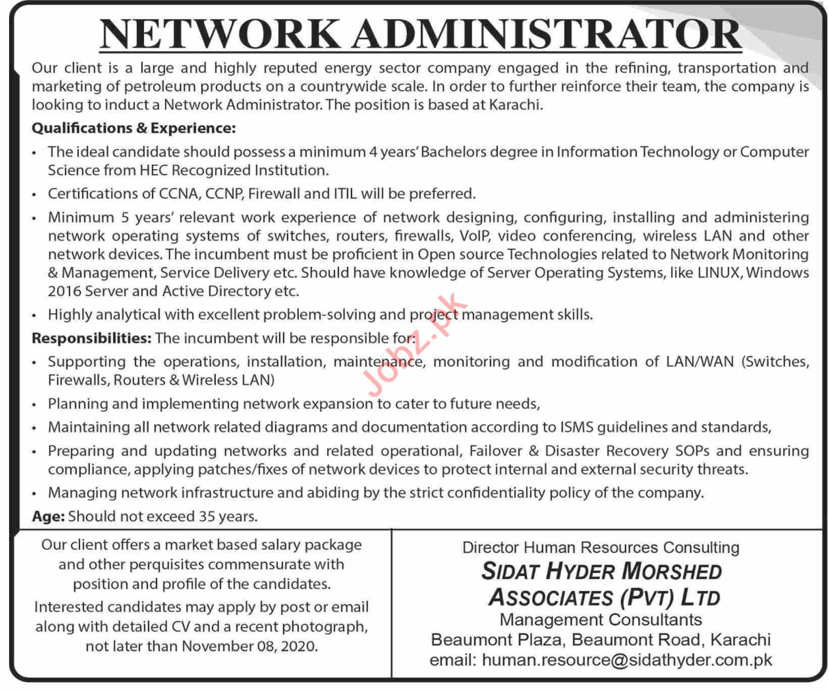 Network Administrator Jobs 2020 in Karachi