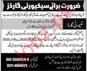 Bahria Town Lahore Jobs 2020 for Security Guard