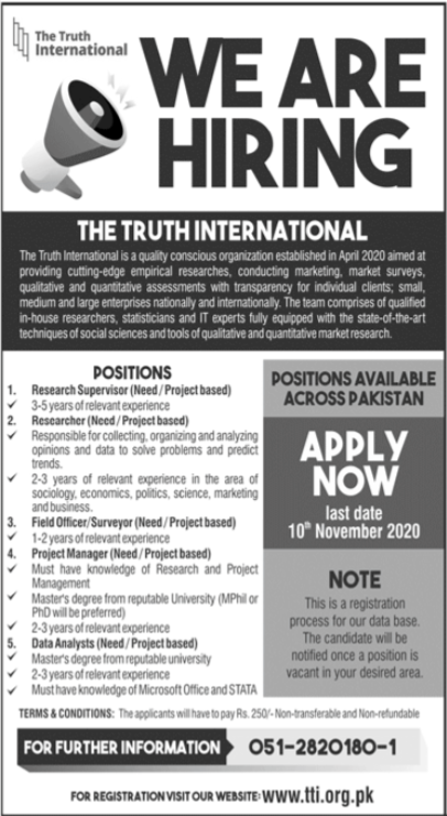 The Truth International Jobs 2020 For Islamabad