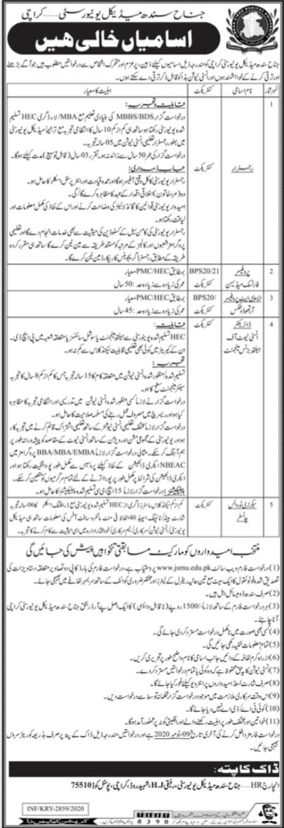 Jinnah Sindh Medical University JSMU Jobs 2020 in Karachi