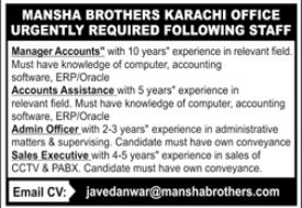 Mansha Brothers Jobs 2020 in Karachi Office