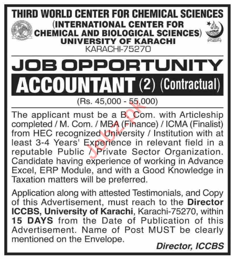 ICCBS International Center for Chemical Karachi Jobs 2020