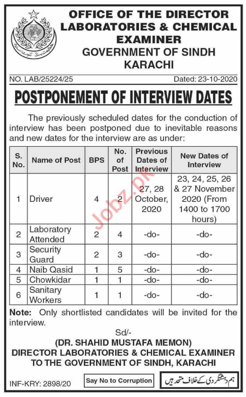 Directorate Laboratories & Chemical Examiner Sindh Jobs 2020