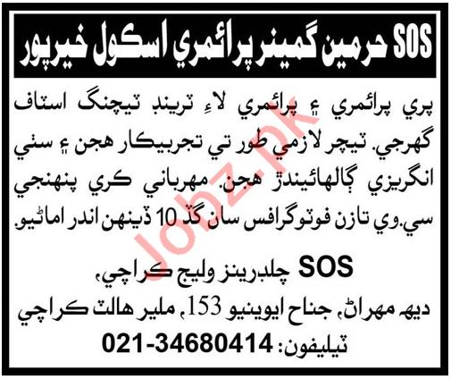 SOS Hermann Gmeiner School Khairpur Jobs 2020 for Teacher