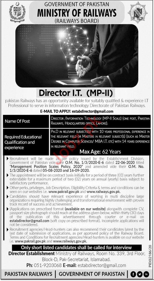 Railways Board Islamabad Jobs 2020 for Director IT