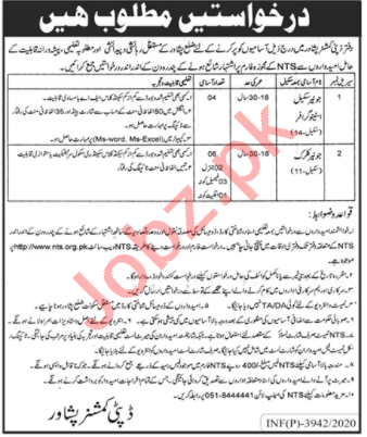 Clerk & Stenographer Jobs in Deputy Commissioner DC Peshawar