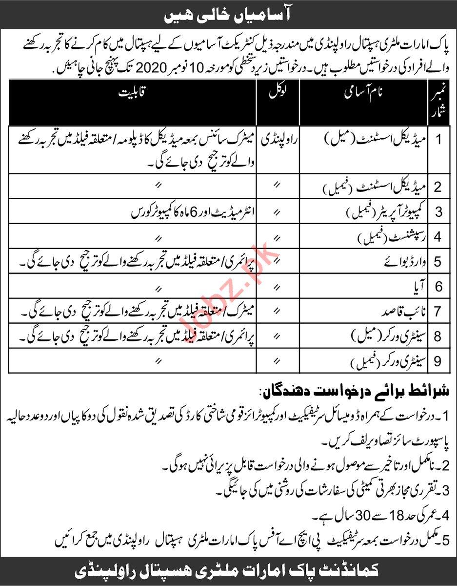 Pak Emirates Military Hospital PEMH Rawalpindi Jobs 2020