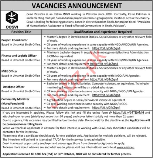 Cesvi Pakistan NGO Jobs 2020 for Project Coordinator