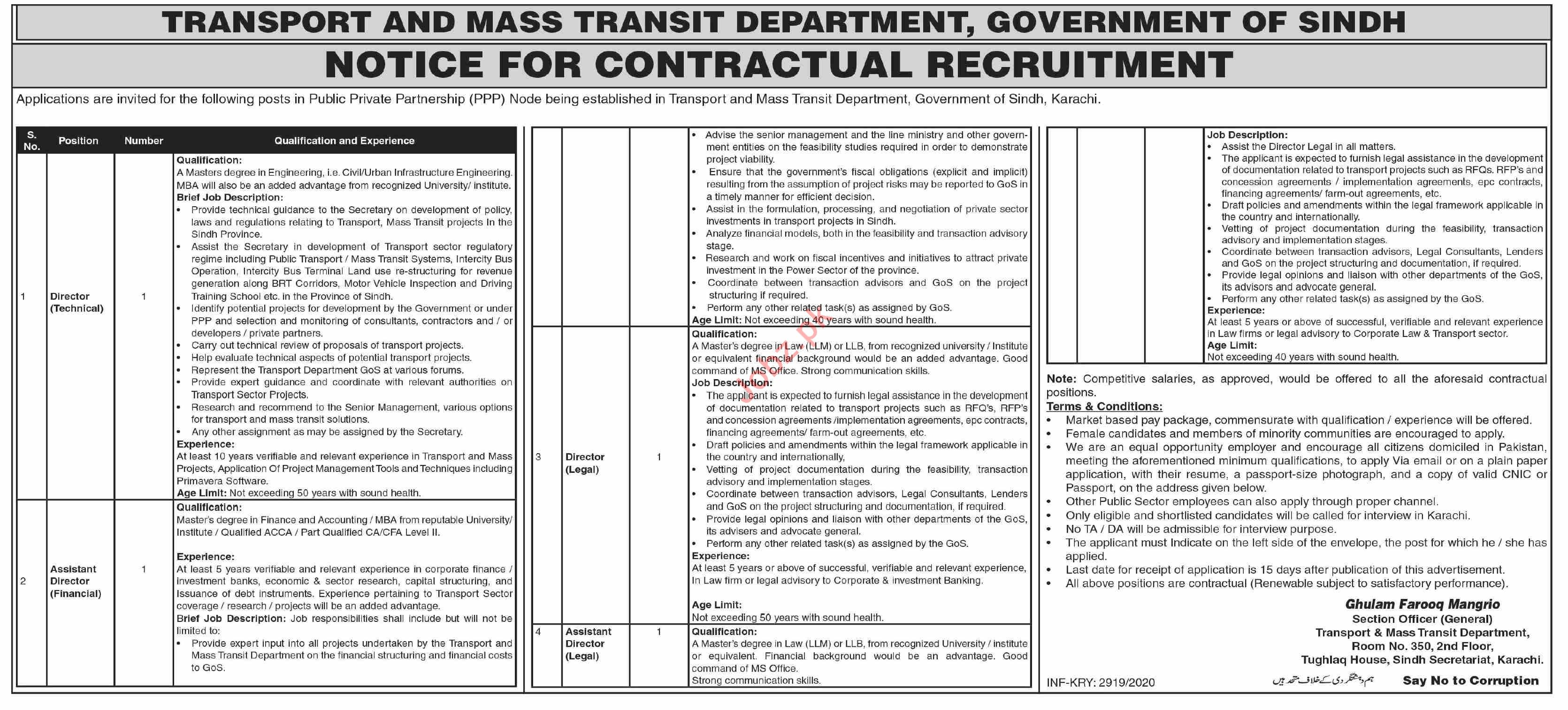 Transport & Mass Transit Department Sindh Jobs 2020