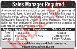 Sales Manager & Area Sales Manager Jobs 2020 in Islamabad