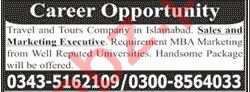 Sales Executive & Marketing Executive Jobs 2020 in Islamabad