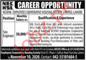 Nespak Employees Cooperative Housing Society Lahore Jobs