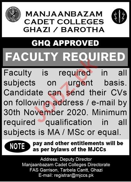 Manjanbazam Cadet College MJJC Ghazi Barotha Jobs 2020