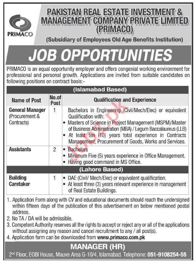 PRIMACO Islamabad Jobs 2020 for General Manager & Assistant