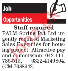 PALM Spring Lahore Jobs 2020 for Sales & Marketing Executive